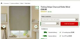 Dunelm charcoal ticking stripe roller blind