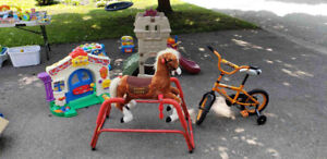 Kids bike, Fisher price door, rocking horse, jumperoo, swing