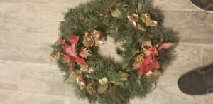 Christmas Wreath and Two small Xmas Trees Decorations