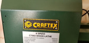 CRAFTEX WOOD LATHE FOR SALE.