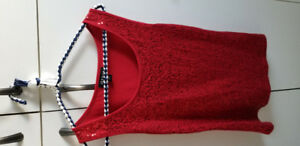 Camisole rouge avec paillettes gr 8-10 femme