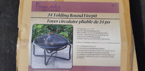 24 in. Folding Round Firepit with Firewood
