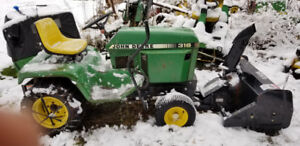 John Deere 316 with 2 Stage Snowblower