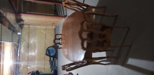 wood dining room table set with 4 chairs ,