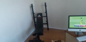 Weider weight bench + weights