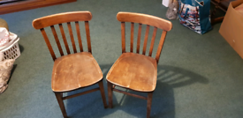 Vintage wooden dining chairs x 2