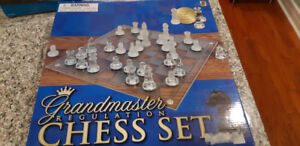 Glass Chess Set, never used, 20$, in original  box!