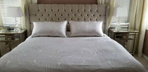 Contemporary Upholstered King Bed with Mattress