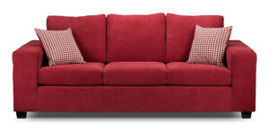 One Maroon sofa, one Maroon Loveseat and One single bed