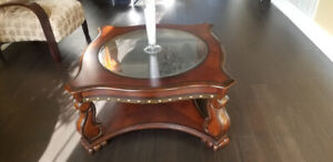 Coffee Table - wood square body with bevelled round glass top