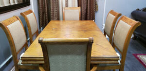 Beautiful 6 Chair Solid Oak Dining Table Set
