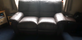Double recliner leather sofa