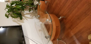Cool S-Shaped glass topped wood veneer coffee table