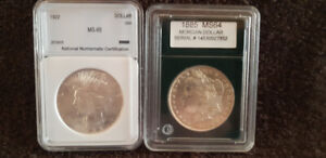 CANADIAN and AMERICAN SILVER DOLLARS ALL GRADED