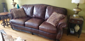Great shape leather sofa and love seat and coffee tablec