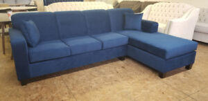 Brand New Comfy Blue Fabric Sectional - Made in Canada