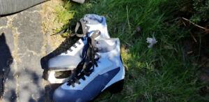 Blue Women's Size 7.5 Figure Skates and free hockey sticks