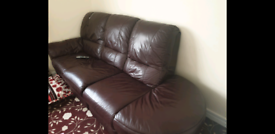 **BROWN LEATHER SOFA** RECLINER AND CORNER SOFA