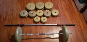 Barres et poids pour exercice - 170 lbs en poids
