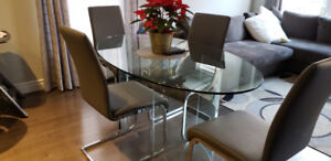 Glass Dining Table with Chairs