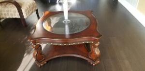Coffee Table - wood square body with bevelled round glass top.