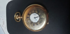 Rare Rolex gold plated half Hunter pocket watch from 1920's