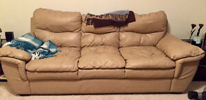 Leather Bone Coloured Couch <10 years old London Ontario image 1