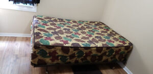 Queen Size Spring mattress, box spring and Steel Bed frame