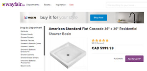 shower base cascade molded stone white by fiat