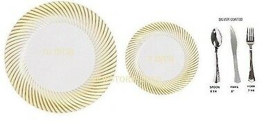 Bulk,Dinner/Wedding Disposable Plastic Plates/silverware,white/swirl gold rim - Gold Plastic Plates Bulk