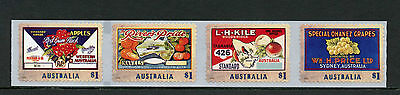 AUSTRALIA 2016 MNH NOSTALGIC FRUIT LABELS 4V S/A STRIP FRUITS APPLES STAMPS