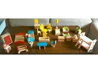Dolls house furniture and dolls