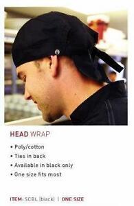 Medicstox Chef's Waitstaff Restaurant Black Head Wrap Hat Apron
