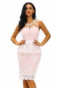 Pink Floral Lace Crochet Peplum Dress Size 14 Ascot Brisbane North East Preview