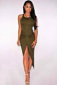 Olive Knotted Slit Summer Party Dress Size 8/10 Ascot Brisbane North East Preview