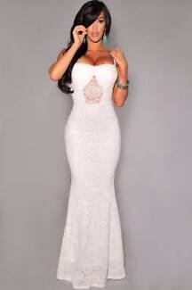 ALL STOCK MUST GO!! Formal White Lace Evening Party Dress Sz 8,10 Hamilton Brisbane North East Preview