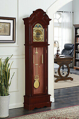 Traditional Accent Westminster Grandfather Clock Brown Red And Clear
