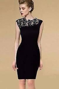 Black Vintage Crochet Bodycon Dress Size 6, 8 Ascot Brisbane North East Preview