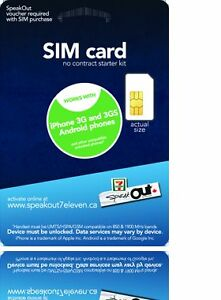 $8 Speakout Sim Cards for Unlocked GSM or Roger's Phones
