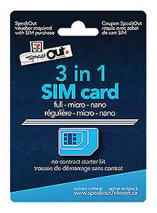 NEW 7-Eleven Speakout Sim Card 3-in-1 Full - Micro - Nano