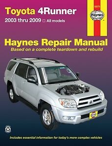 Toyota 4Runner Repair Manual (Haynes) - 2003 to 2009