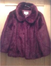 Monsoon Maroon Faux Fur Jacket Size S/M 10/12 RRP £149.99