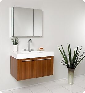 Fresca Fvn8090tk Vista Teak Modern Bathroom Vanity With Medicine Cabinet