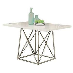 "Monarch Glossy/Chrome Metal 36"" x 48"" Dining Table, White  Model: I 1046"