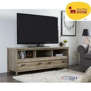 NEW SOUTH SHORE TV STAND WEATHERED OAK - FOR TVs UP TO 60' 109366647