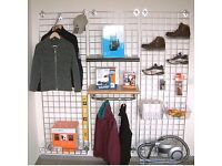 Shop fittings Grid wall mesh crome various sizes & hanging accessories
