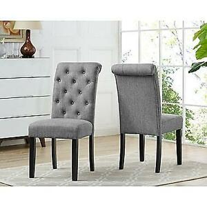 Brassex Soho Tufted Dining Chair, Grey (638-22-GR) - Pair