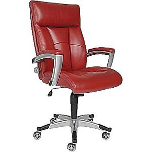 Sealy Posturepedic Roma Leather Executive Chair - Red