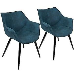 LumiSource Wrangler Accent Chair in Blue (Set of 2) NEW ** 5 CORNERS FURNITURE**