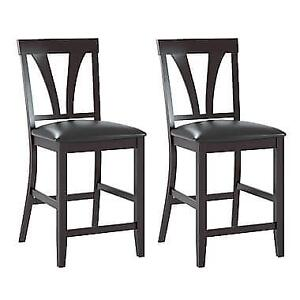 CorLiving DKR-409-C Bistro Dining Chairs in Chocolate Black Bonded Leather, Set of 2